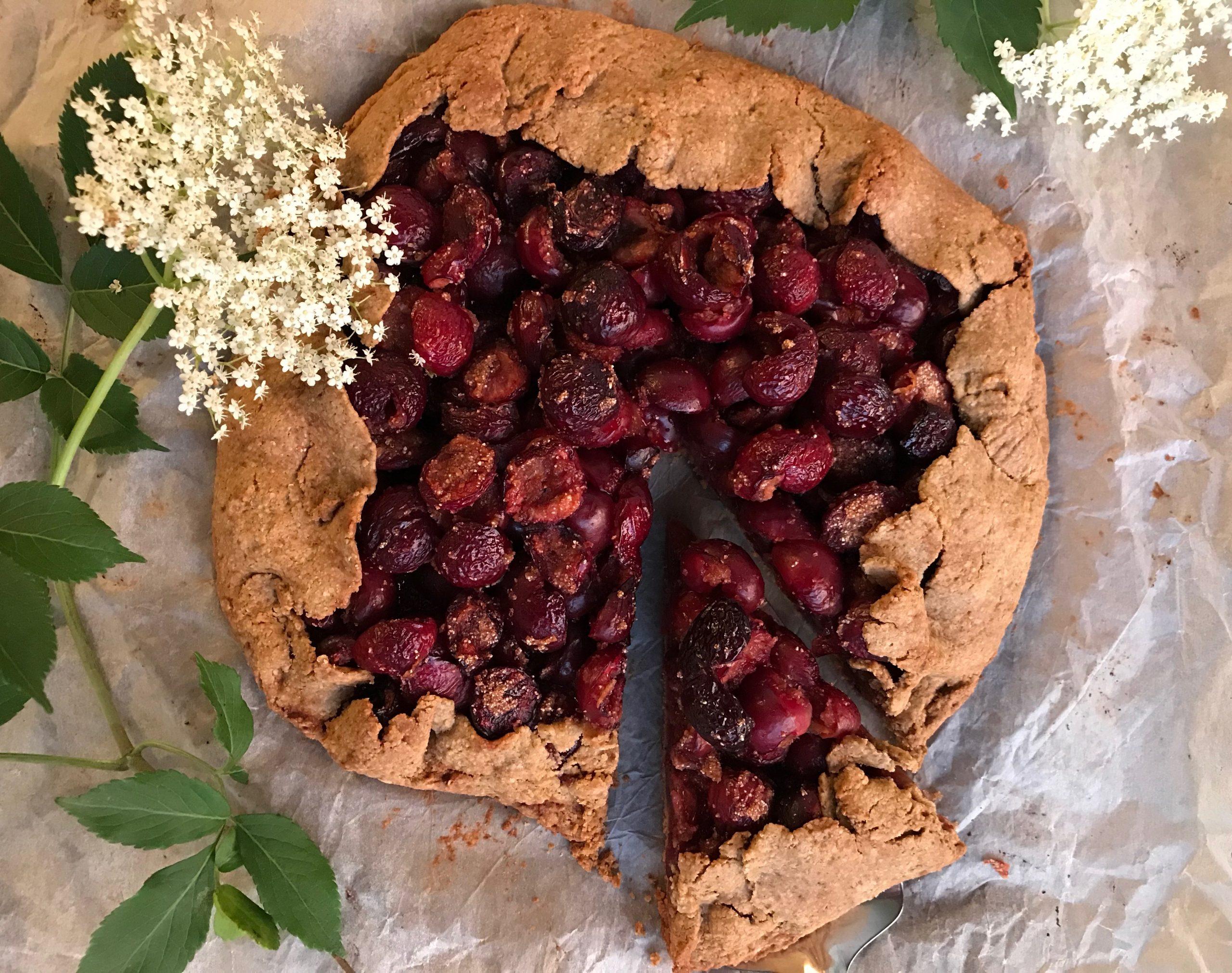 Elderberry cherry galette